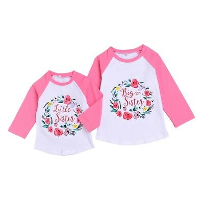 Kids Baby Little Big Sister Matching Clothes Long Sleeve Floral T-Shirt Tops New