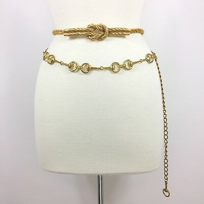 2 Vtg Gold Tone Belts 1 Accessocraft Twisted Rope Knot 1 Adjustable Chain Medium