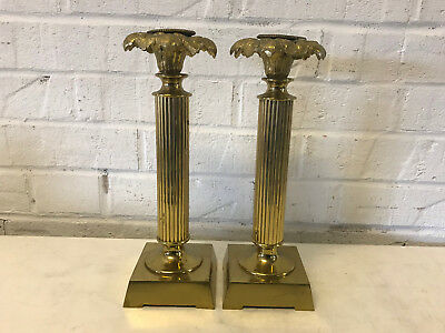 Antique Late 19th Early 20th Century Brass Pillar / Column Form Pair of Candles