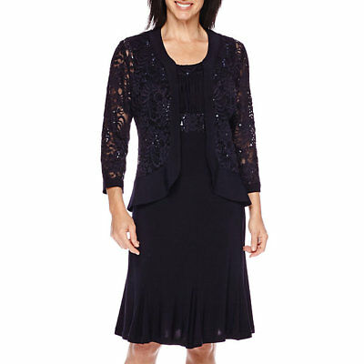 R&M RICHARDS Womens Dress New w/ tags Navy Sequin/Lace Mother of Bride/Groom