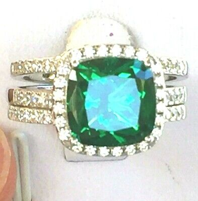 Emerald Ring Set: 5ct Halo Cushion Created Emerald Anniversary Ring, 925 silver