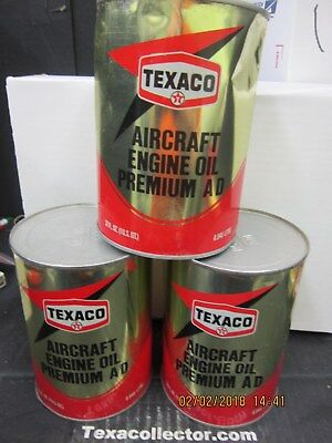 Three Texaco Aircraft Engine Oil Premium AD Full Quarts Lot 918