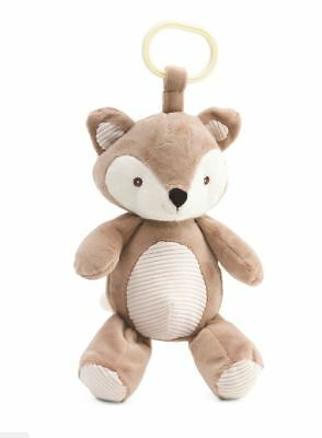"""Kelly Baby Plush Fox Rattle Toy Crinkle Ears Lt Brown/Ivory 10"""" Clip-on hanging"""