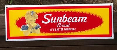 Sunbeam Bread It's Batter Whipped Young Blonde Porcelain Enamel Advertising Sign