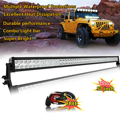 52inch LED Work Light Bar Offroad Truck Jeep Ford Fog ATV UTE SUV free harnrness