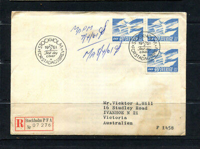 Sweden 1961 Fdc First Day Cover Registered Post Stockholm To Australia  Lot 134