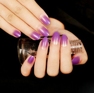 24 Pcs Set Purple Gradient Style Press-On Nail Tips Completed Fake Nails