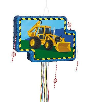 Construction Digger Party Pull String Pinata | Game | Hanging Decoration