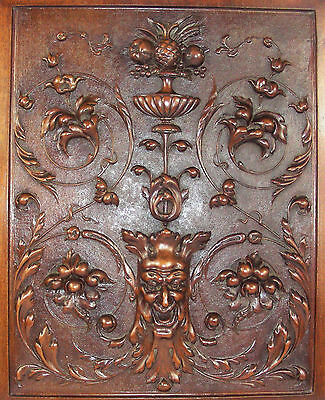 Antique  french wood panel door diable Demon Carving Fantastic gothic