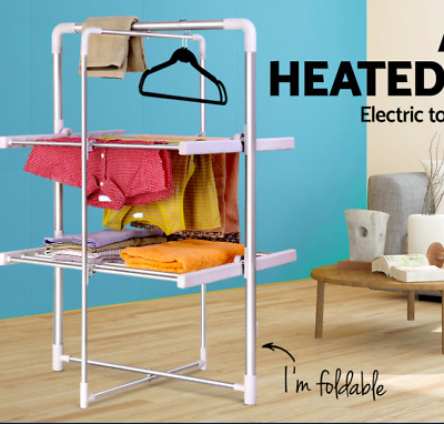 20 bars Electric Heated Clothes Towel Rail Rack 40°C - 50°C Laundry Dryer 2-tier