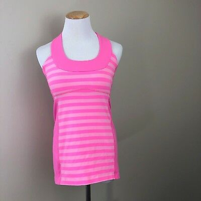 Lululemon Athletica Womens Athletic Workout Top Size 8 Exercise Tank Pink Stripe