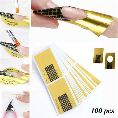 500 Nails Art Gold Guide Forms Acrylic  UV Gel Tips Extensions Manicure Stickers
