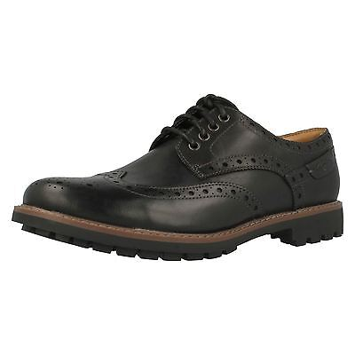 9bb34afa MENS CLARKS MONTACUTE Wing Black Leather Casual Lace Up Brogue Shoes