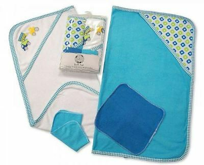 2 Soft Baby Hooded Bath Time Towel & 2 Washcloth Blue White Gift Set 100% Cotton