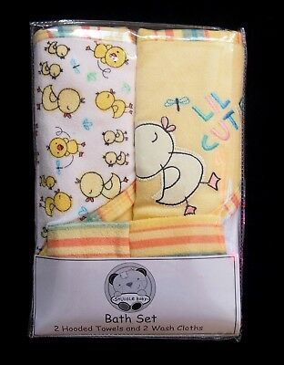 Soft 2x Baby Hooded Bath Towel 2x Washcloth Yellow Duck Gift Bath Set 75x75cm