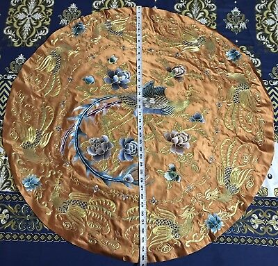ANTIQUE 19th QING DYNASTY CHINESE EMBROIDERED SILK PANEL WALL HANGING ROUND