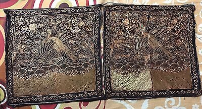 2 Antique Chinese Rank Badge  Paradise Flycatcher Metal Couching Qing Dynasty