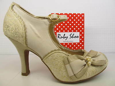 56d322aa08d2 Ruby Shoo Maria Cream Gold Floral Ladies Wedding Buckled Strap Heel Court  Shoe