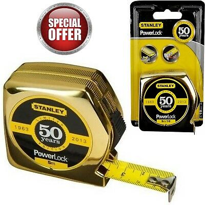 Stanley Power Lock Tape Measure 50 Year Gold Limited Edition 5m Top Quality UK