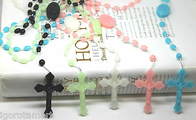 Glow in the Dark Prayer Beads Rosary Crucifix Necklace Soft Plastic New Hot