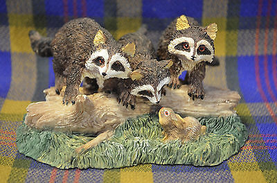 Endearing Statue of 3 Raccoons Sitting on Log,Talking to a Bunny-YOUNG TM China