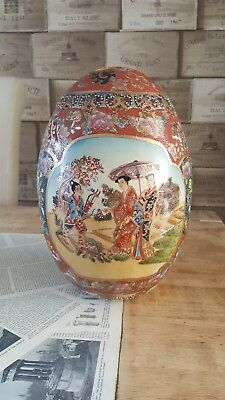 Large hand painted ART pottery  Chinese egg cm30. Stunning. 1072 #12