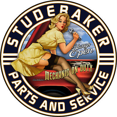 """New Studebaker Car Parts And Service Pinup Girl Gas Oil 14"""" Round Metal Sign"""