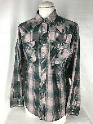 Vintage LEE Green Plaid Check Western Shirt Mens XXL Pearl Snaps Bufflalo Cowboy