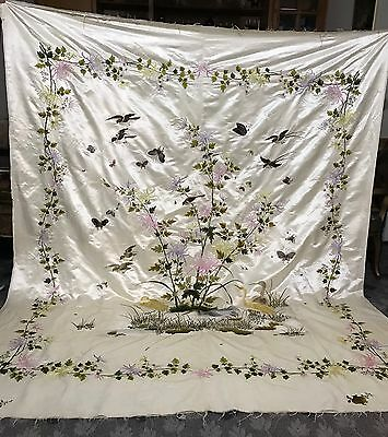 """Antique Chinese Qing Dynasty Embroidery Bed Sheet Panel 82"""" By 96"""" Sign"""