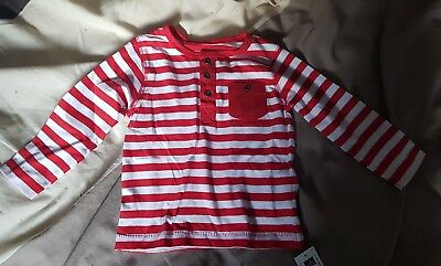 Red and White Striped Top Size 6-9 Months