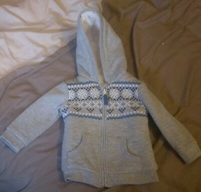 Winter Grey Felt Lined Hoody 6-9 Months