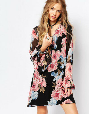 Honey Punch Women's Festival Bell Sleeve Dress In Floral Print Size M $62  ASOS