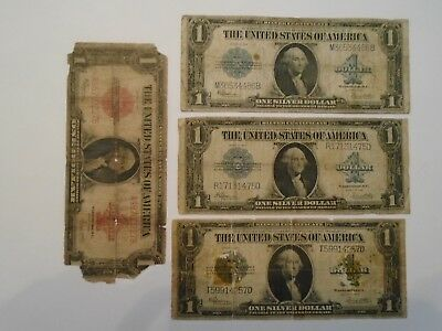 4 1923 Large Size Notes 3- $1 Silver Certificates 1- $1 Red Seal Note Lot F