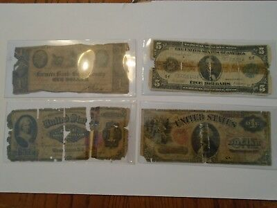4 Large Size Notes 1914 $5 FRN 1875 Red Seal $1 1891 Martha $1 1841 $1 Lot G