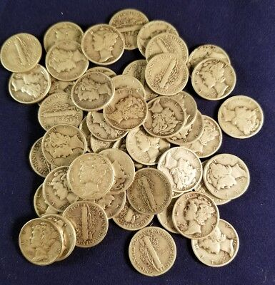 One Circulated Roll of 50 - 90% Silver Mercury Dimes - Mixed Dates