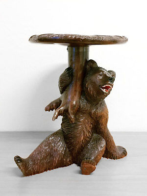 Fantastic Brienz Switzerland / Black Forest Wooden Carved Bear Occasional Table