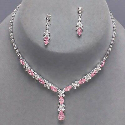 Baby pink jewellery set diamante rhinestone sparkly prom party bridal necklace