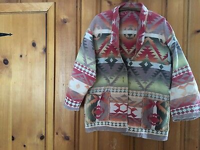 Vintage Beacon Blanket Jacket Camp Southwest Robe Chore Large