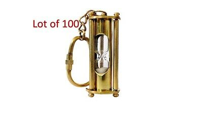 Solid Brass Necklace Style  Sand Timer & Hour Glass Key Chain Lot of 100