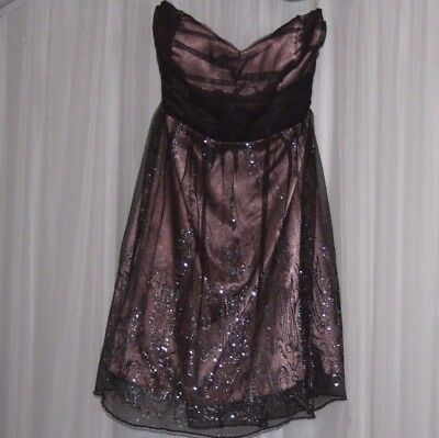 TRIXXI Jrs. Dress Black & Mauve BLING Formal Evening Party Wedding Holiday Sz.9