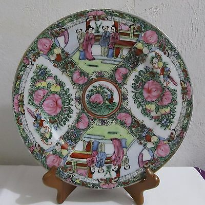 Stunning Vintage Chinese Oriental Famille Pink Rose Decorative Porcelain Plate.