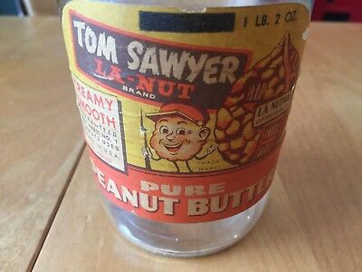 Vintage Tom Sawyer Peanut Butter Jar with label and lid-Los Angeles