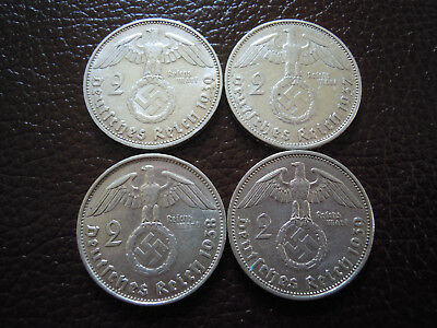 Lot 4 x  2 Reichsmark  Hindenburg mit HK 1937 A-1938 B-1939 A+J-Top