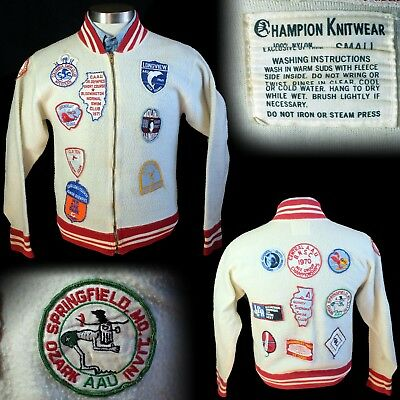 Vintage 1960s Champion Knitwear runner label fleece jacket swimming patches S