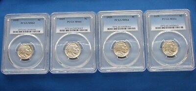 *super Nice Lot Of (4) 1935 Buffalo Nickels All Are Ms-64 Pcgs*