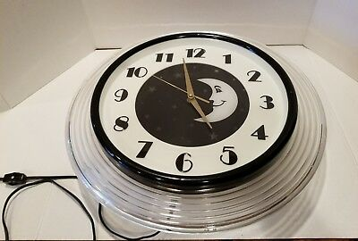 Unique Rotating Light Moon And Stars Wall Clock By Hyman Products Inc. St Louis
