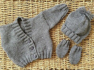 Hand Knit Grey Newborn Baby  V Neck Cardigan Hat And Miits Set