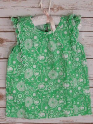Hanna Andersson Green Ruffle Top White Flowers 100 3/4
