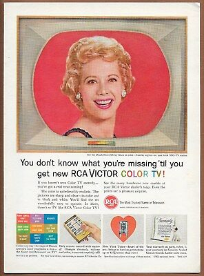 RCA Color TV Television Dinah Shore Single Page Magazine Print Ad 1961