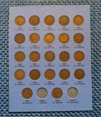 1888 to 1909 Indian Head Cent Penny Collection 22coin set-VERY NICE G to VG!!!